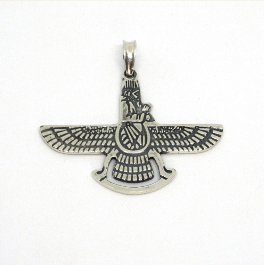 Крылатый диск Фаравахар, Ахура Мазда, амулет-талисман серебряный