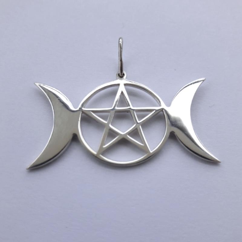 Триединая богиня с Пентаграммой амулет-талисман серебряный