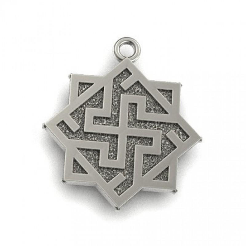 Валькирия в Рунном круге  Оберег славянский серебряный