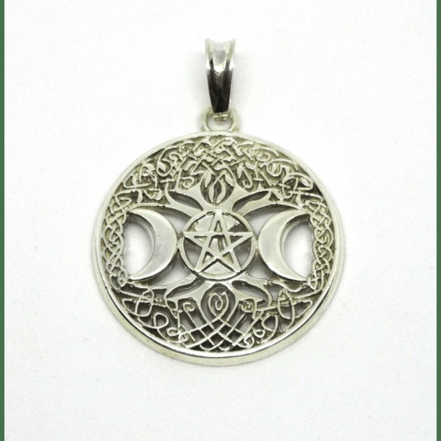 Древо Жизни с Триединой Богиней защитный амулет серебряный