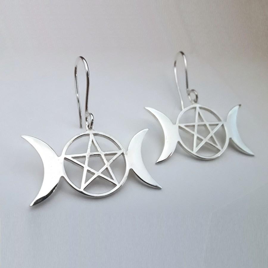 Серьги Обереги Триединая Богиня с Пентаграммой серебряные