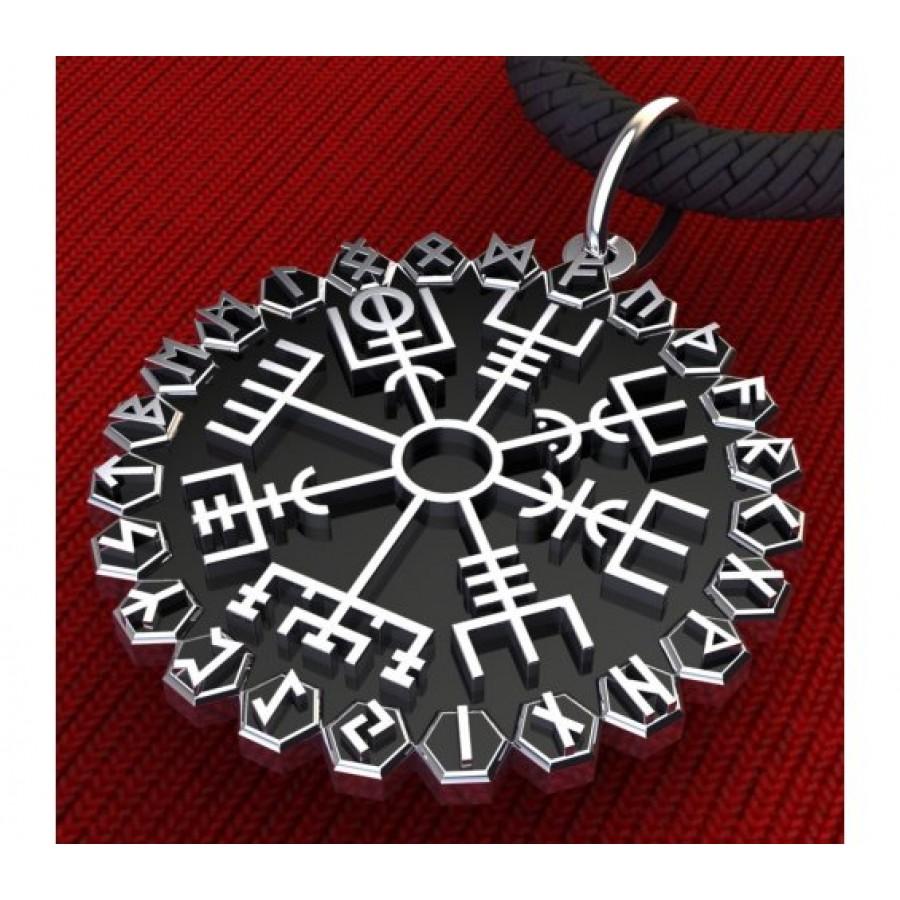 Вегвизир в рунном круге амулет скандинавский серебряный