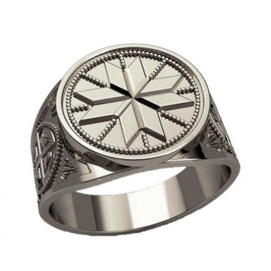 Перстень Алатырь в солнечном круге оберег славянский серебряный
