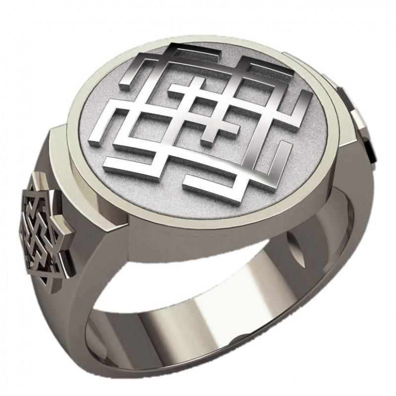 Перстень Белобог оберег славянский серебряный