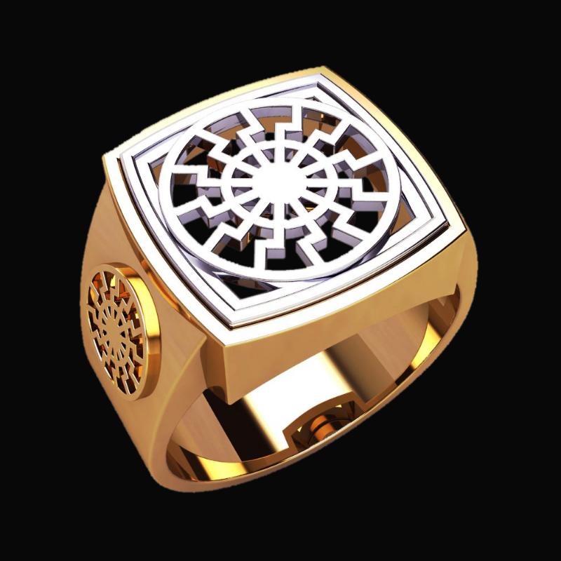 Перстень Черное Солнце оберег славянский серебряный
