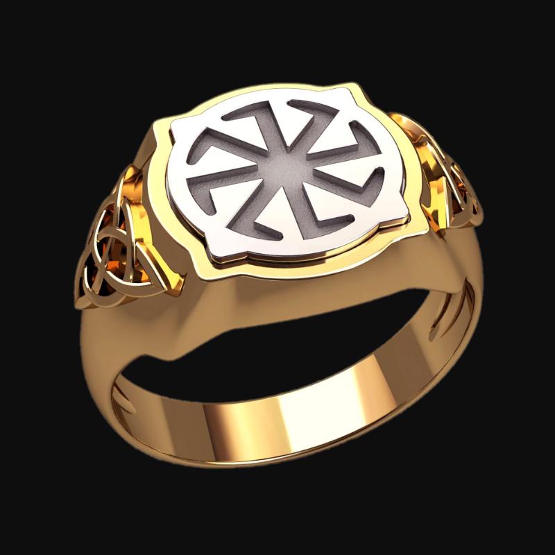 Перстень Коловрат оберег славянский серебряный