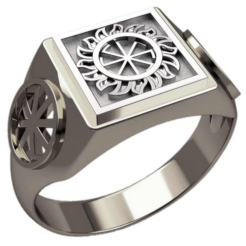 Перстень Коловрат в Солнце оберег славянский серебряный