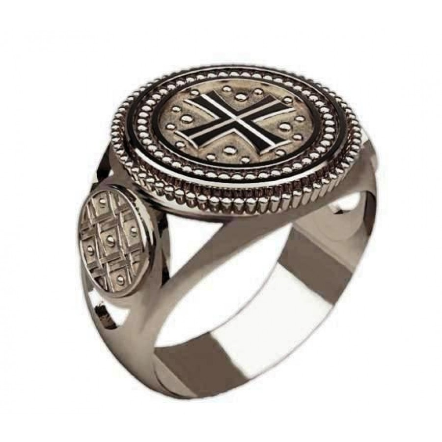 Перстень Крест Тамплиеров серебряный