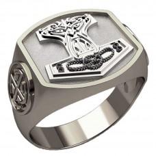 Перстень Молот Тора оберег скандинавский серебряный