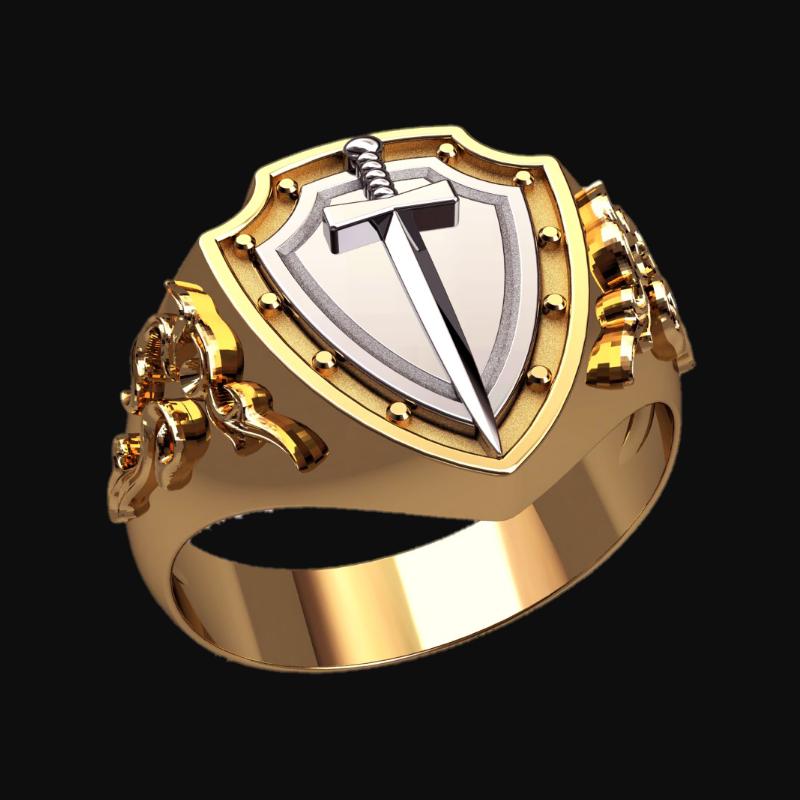 Перстень Щит и Меч оберег серебряный