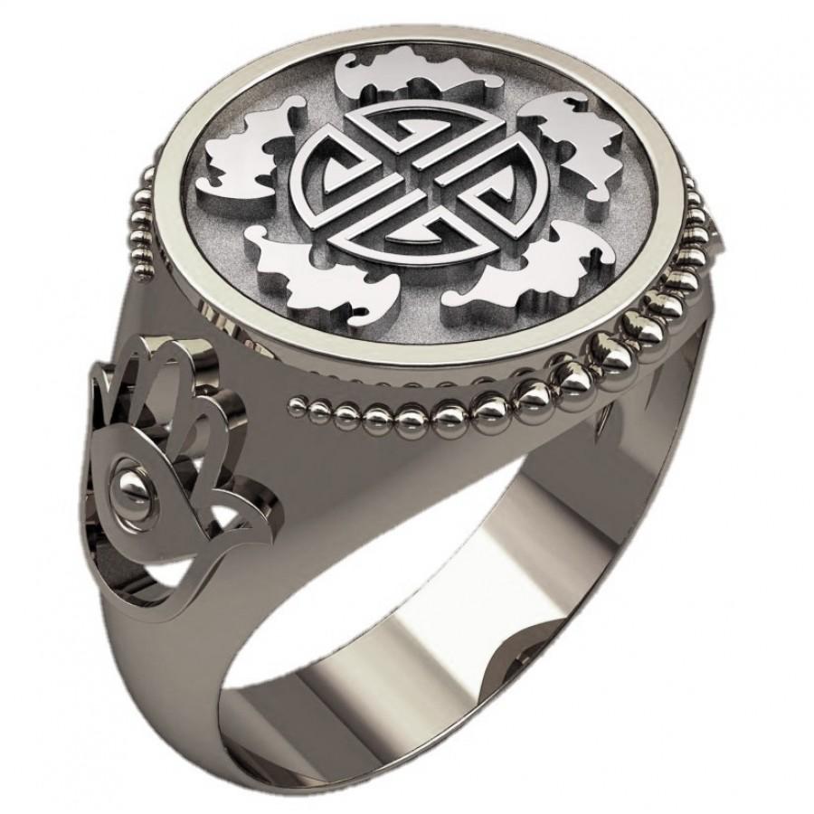 Перстень Символ пяти благ оберег серебряный