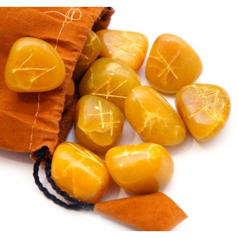 Руны Желтый Оникс с гравировкой