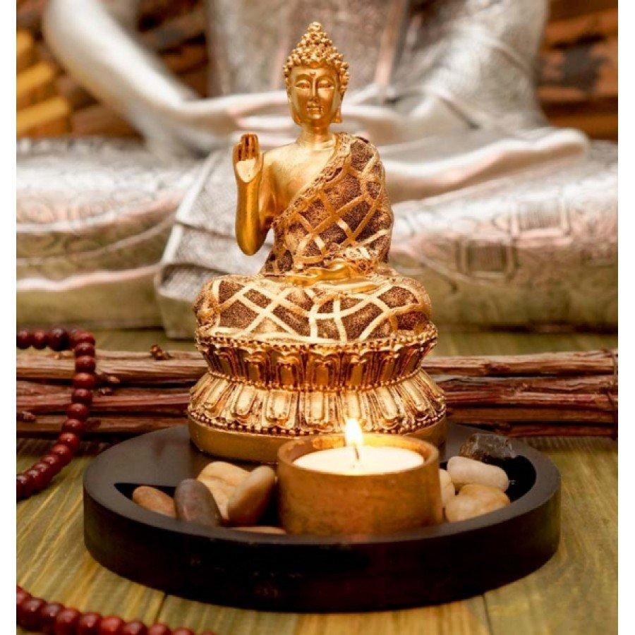 Будда в позолоте статуэтка-подсвечник